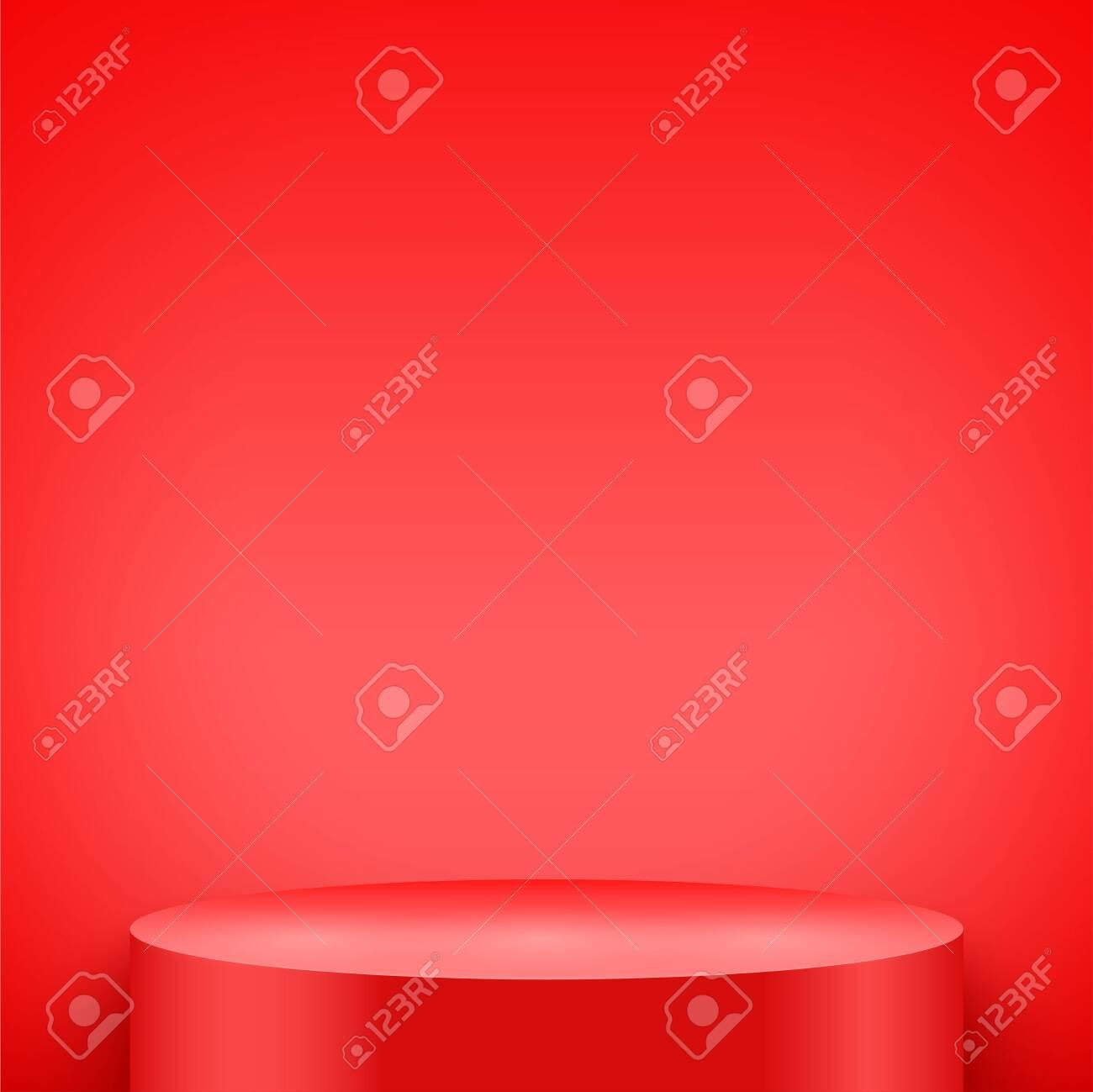 Light box with Red presentation circle podium on light backdrop. Editable Background Vector illustration. - 138193035