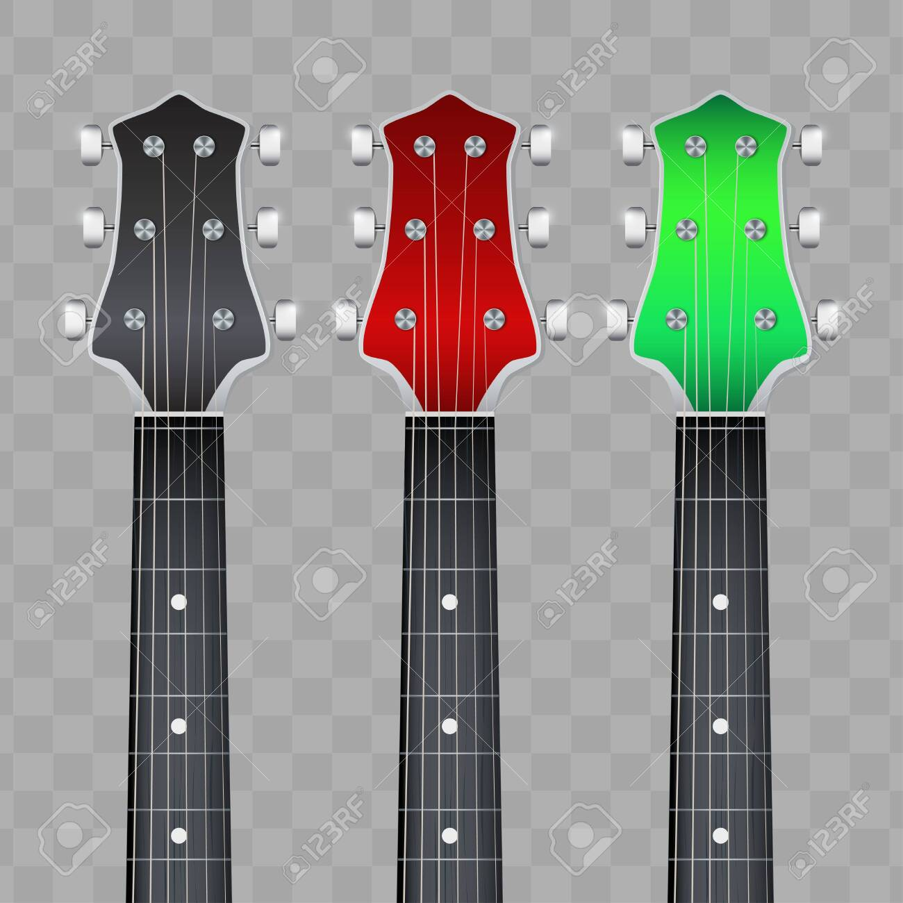 Set of Rock Electro Guitars neck fretboard and headstock. Vector Illustration isolated on white background. - 141644616