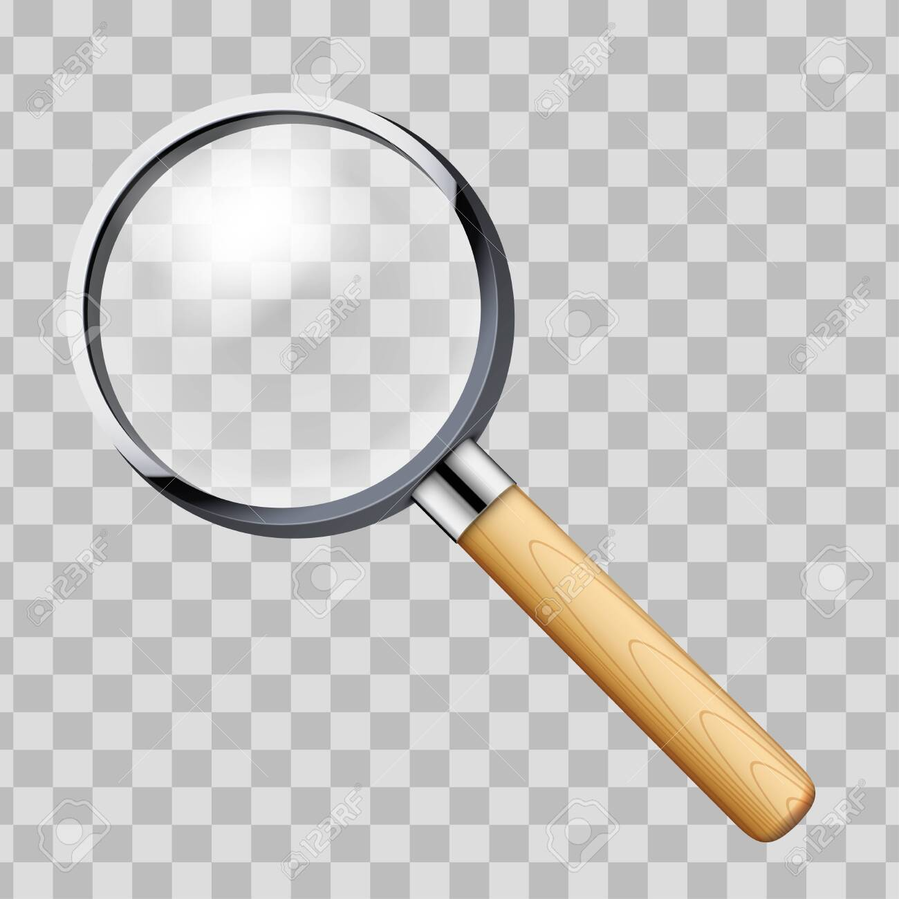 Vintage Magnifying glass with handle. Vector Illustration Isolated on transparent background. - 141048934