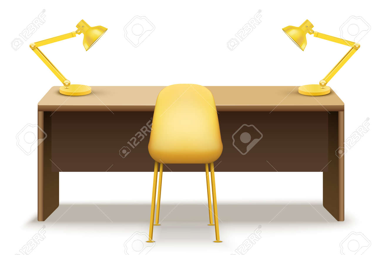 Wooden table desk with lamps for office and home Workplace. Vector Illustration isolated on white background. - 151773936