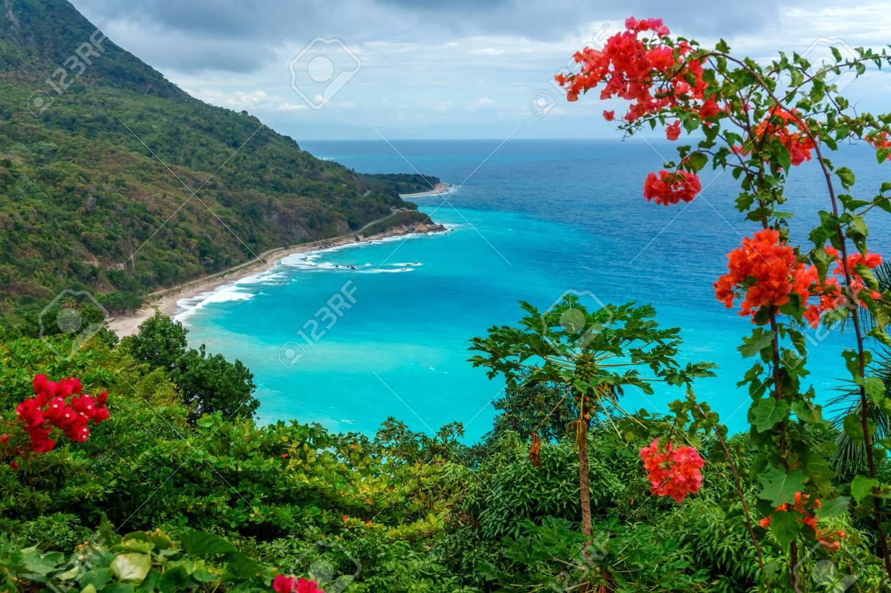 Amazing Scenic Caribbean Tropical Landscape Blue Bay Top View