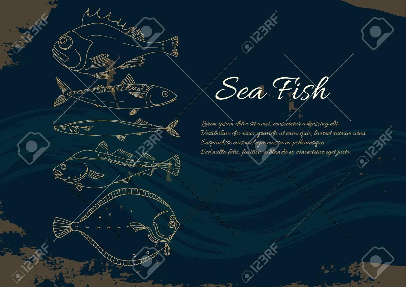 Vettoriale Modello Con Set Di Pesce Di Mare Su Sfondo Nero Posto