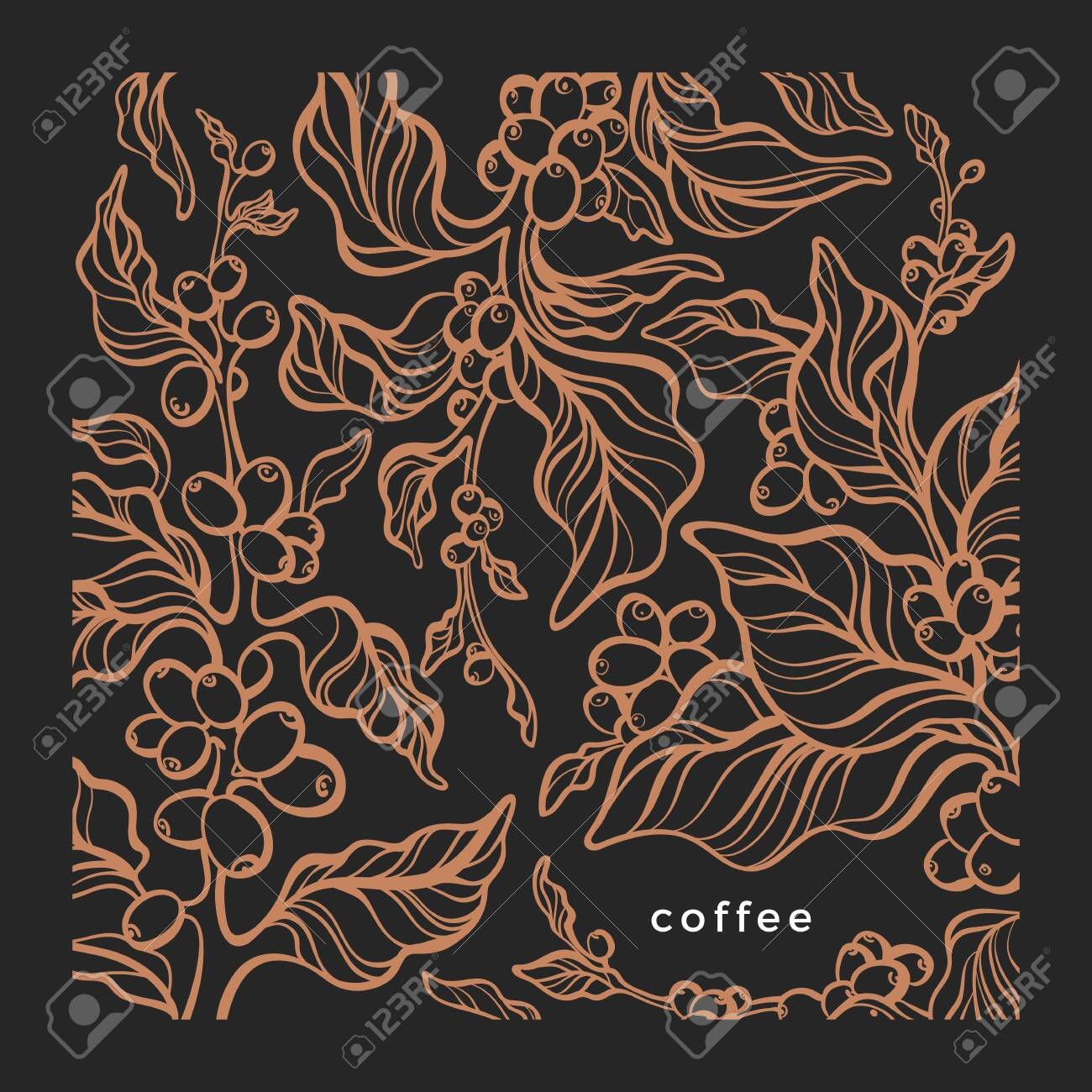 Coffee Background Vector Graphic Pattern Nature Tree Art Line Royalty Free Cliparts Vectors And Stock Illustration Image 141629675