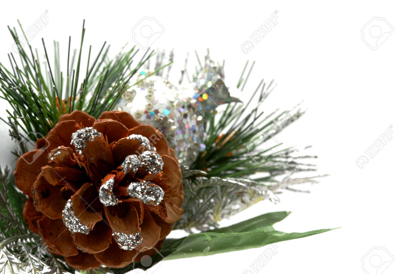 Christmas Ornaments Over A White Background To Be Used In ...