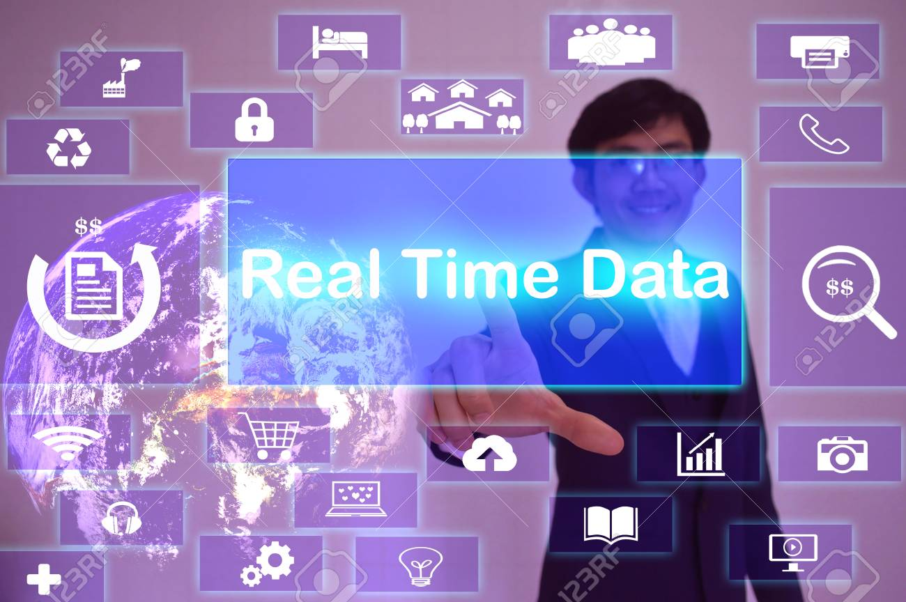 Real Time Data (RTD) concept presented by businessman touching