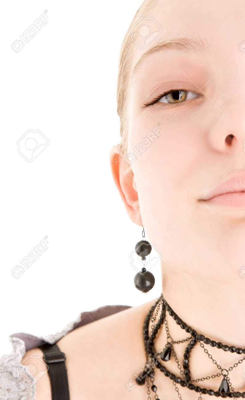 Portrait of young woman on white Stock Photo - 6366565