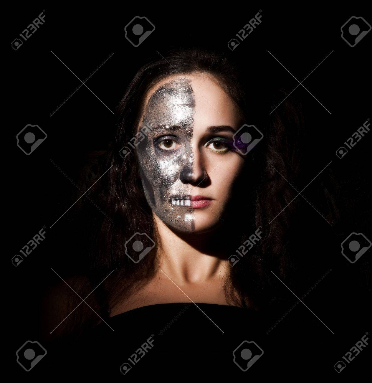 Two-faced Girl Looking To The Camera Stock Photo, Picture And ...