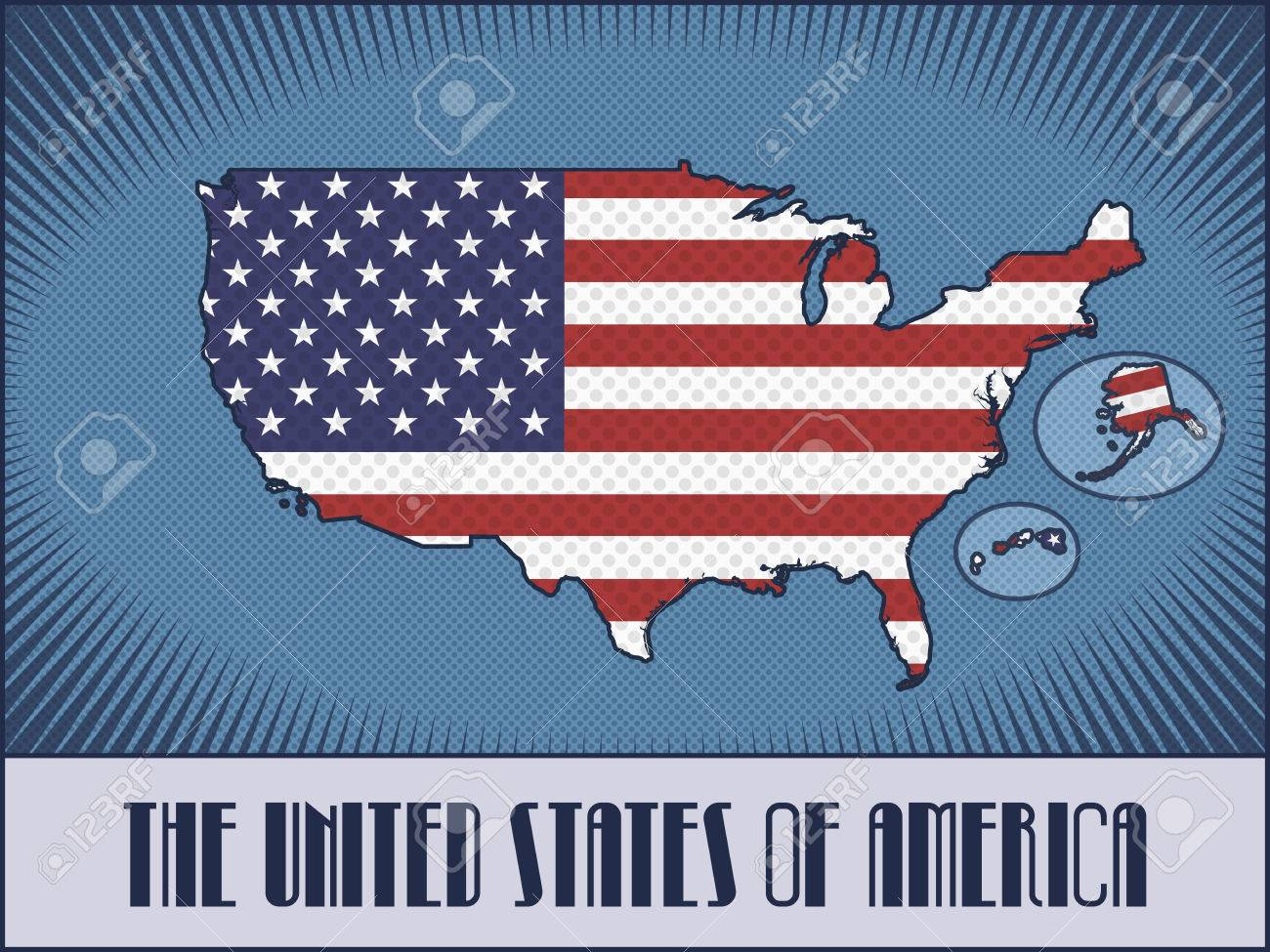vector vector map of the united states of america with alaska and hawaii in colors of the american flag made in retro style with ben day dots