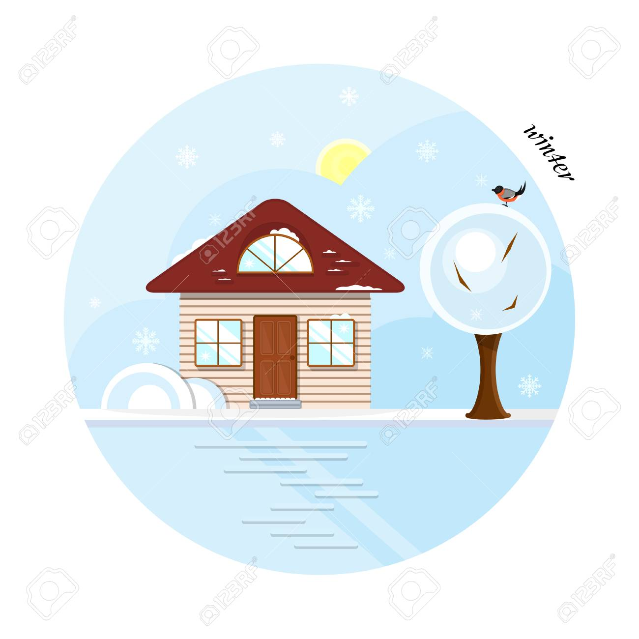 vector flat house in winter season a beige cottage with a dark
