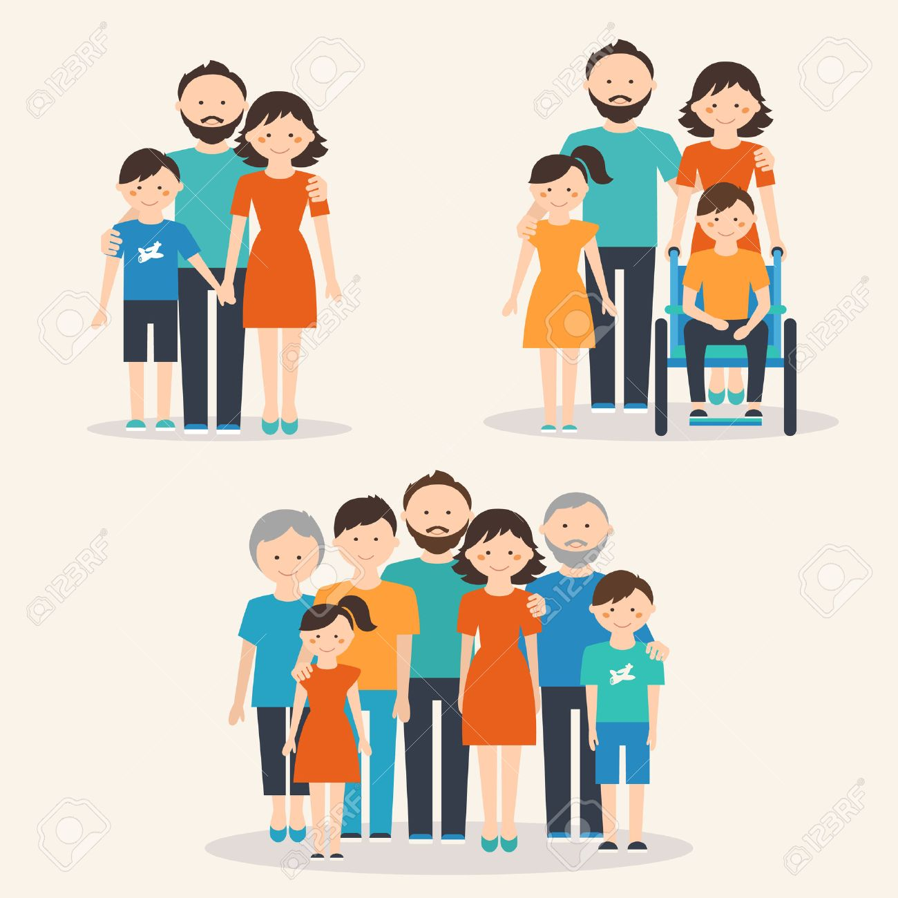 Nuclear Family, Family with Special Needs Child and Extended Family. Families of Different Types Stock Vector - 42658986
