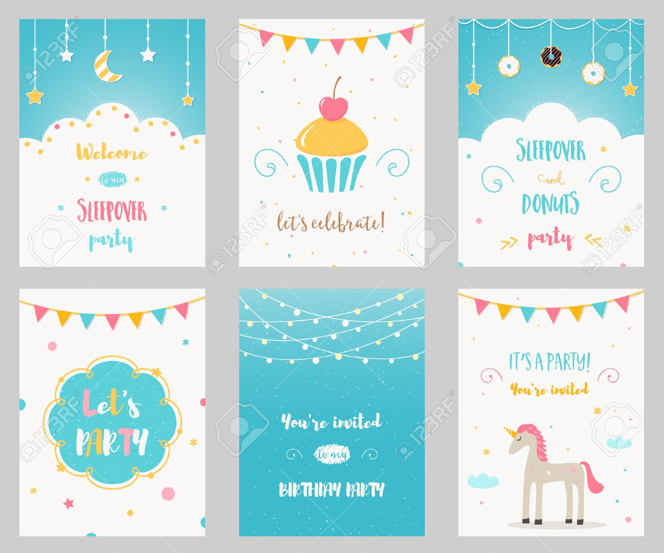 vector set of birthday and sleepover kids party invitations royalty