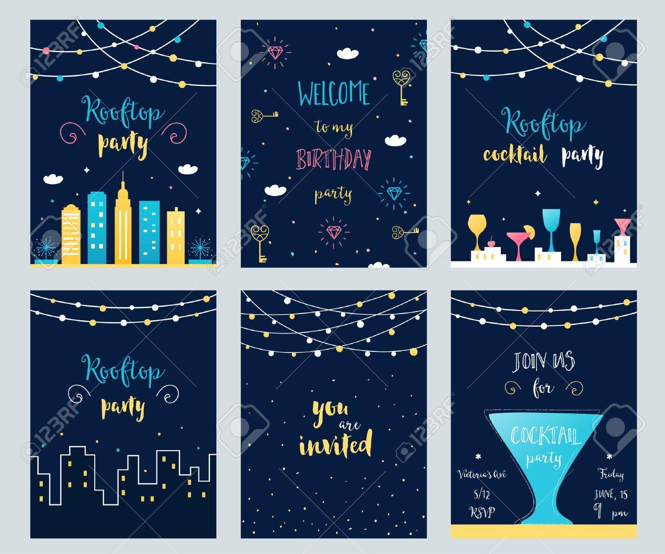 Vector Conjunto De Tarjetas De Invitación De Fiesta En La Azotea Cóctel Y Cumpleaños Con Guirnaldas De Luz