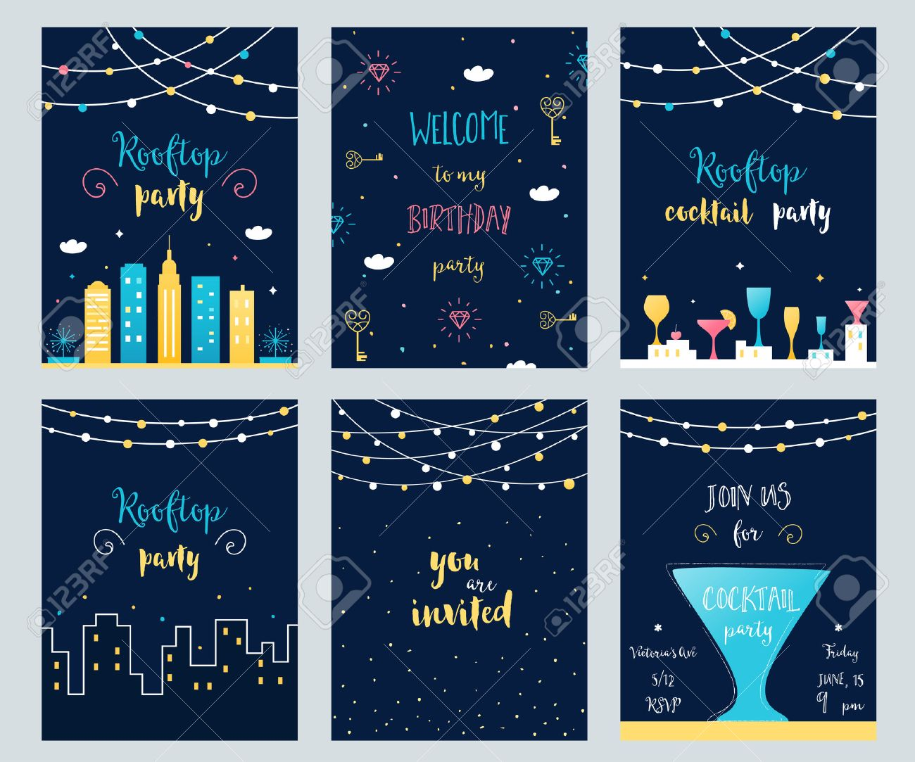 Vector set of rooftop cocktail and birthday party invitation vector vector set of rooftop cocktail and birthday party invitation cards with light garlands stopboris Choice Image