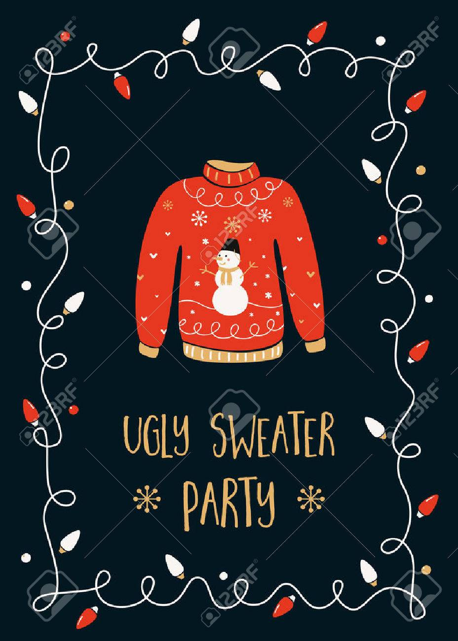 Ugly Sweater Christmas Party Invitation Card Template Royalty Free - Ugly sweater christmas party invitations template