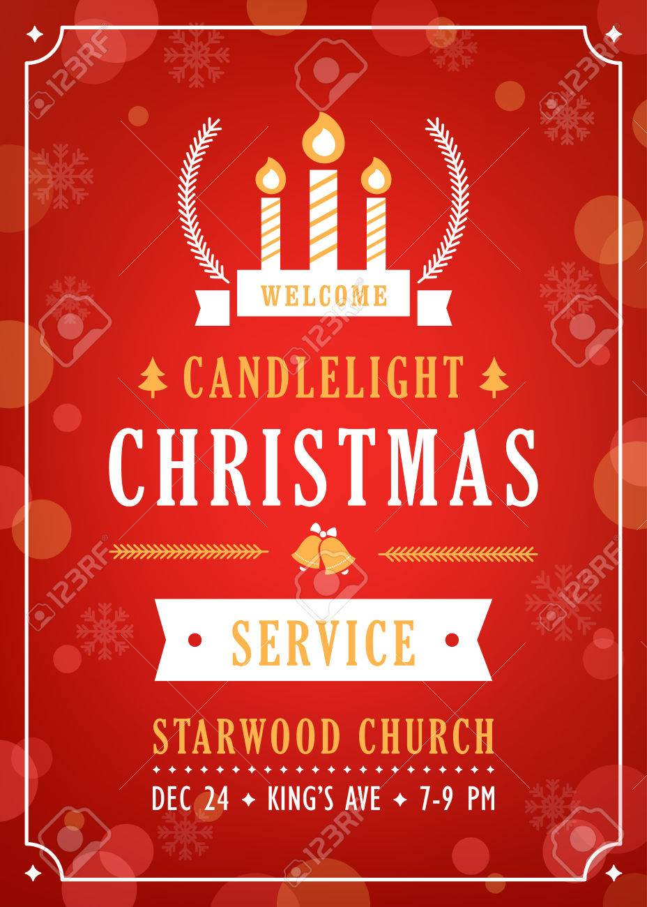 christmas candlelight service church invitation vector template
