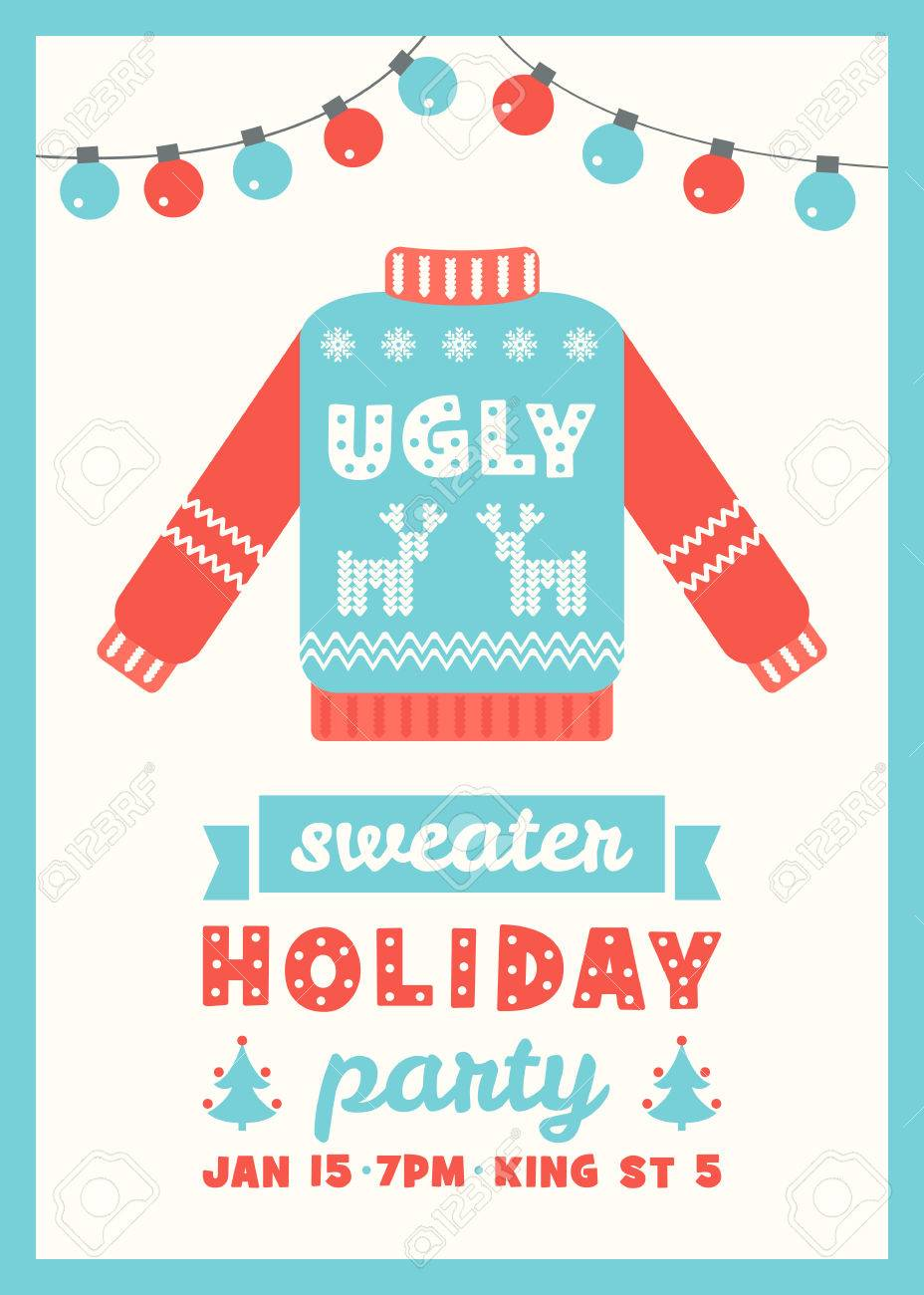 Ugly Sweater Holiday Party Invitation Card Template