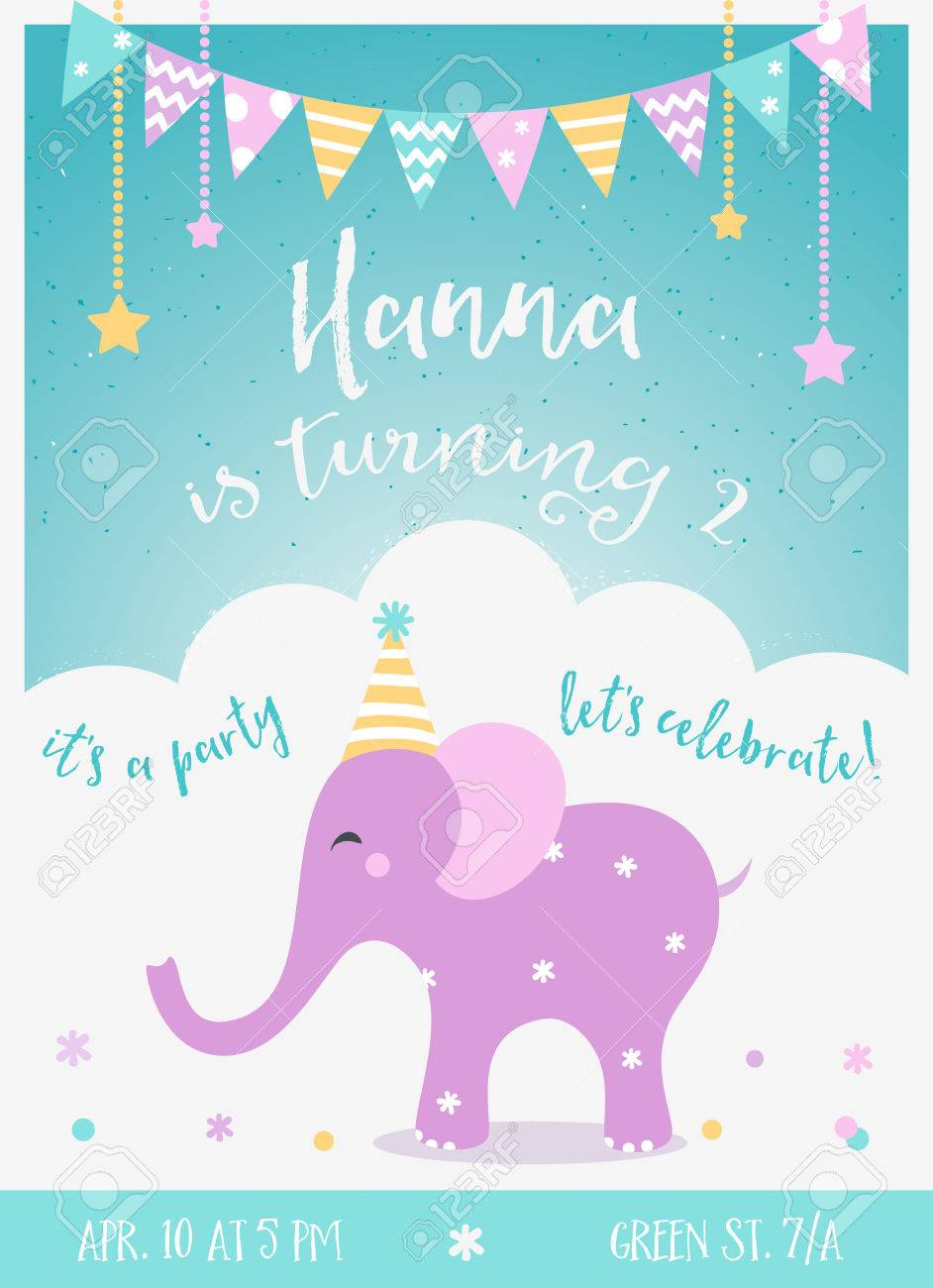 Kids Birthday Party Invitation With Garlands And Baby Elephant Stock Vector