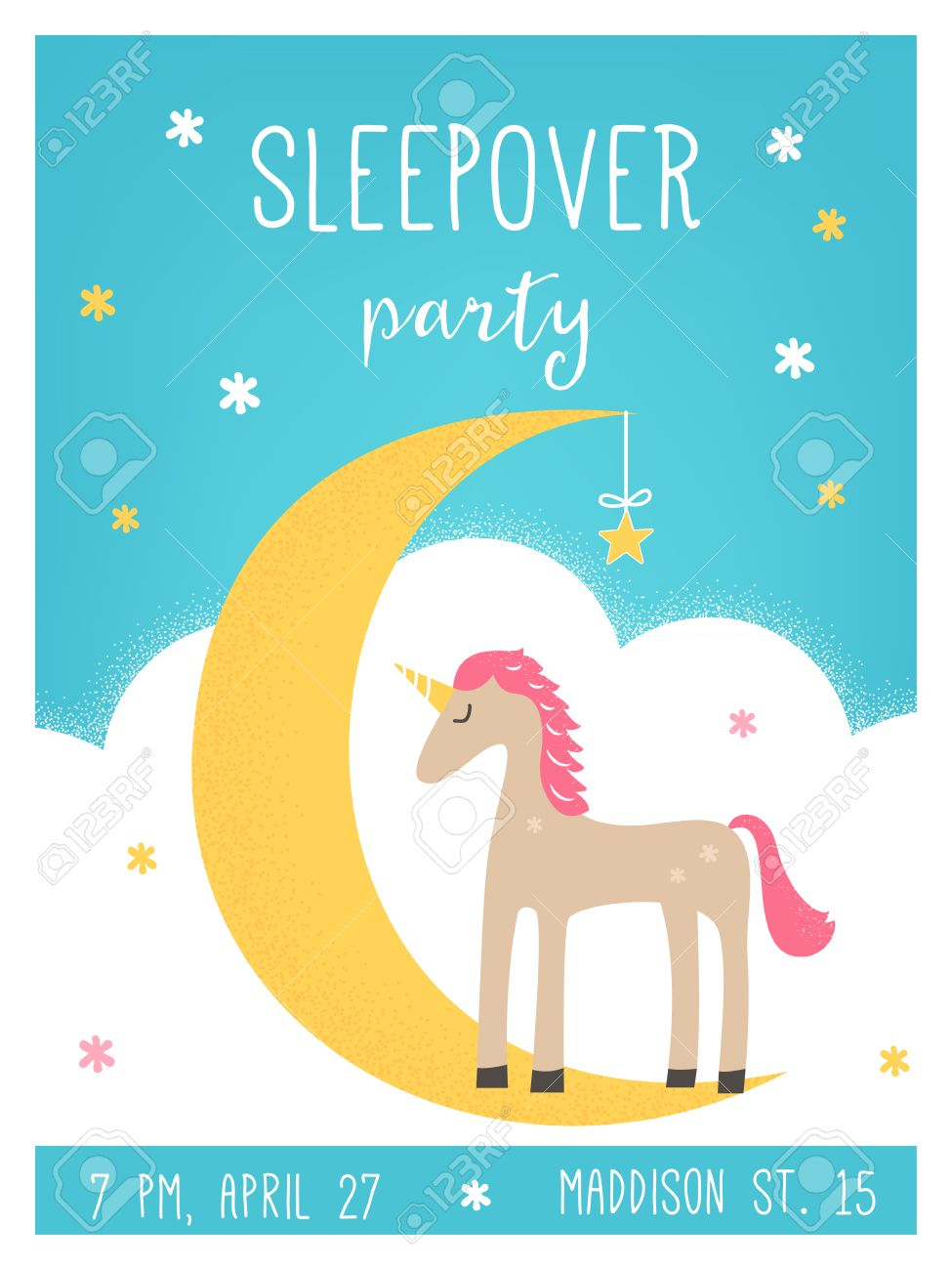moon and unicorn pajama sleepover kids party invitation card vector stock vector 55774041