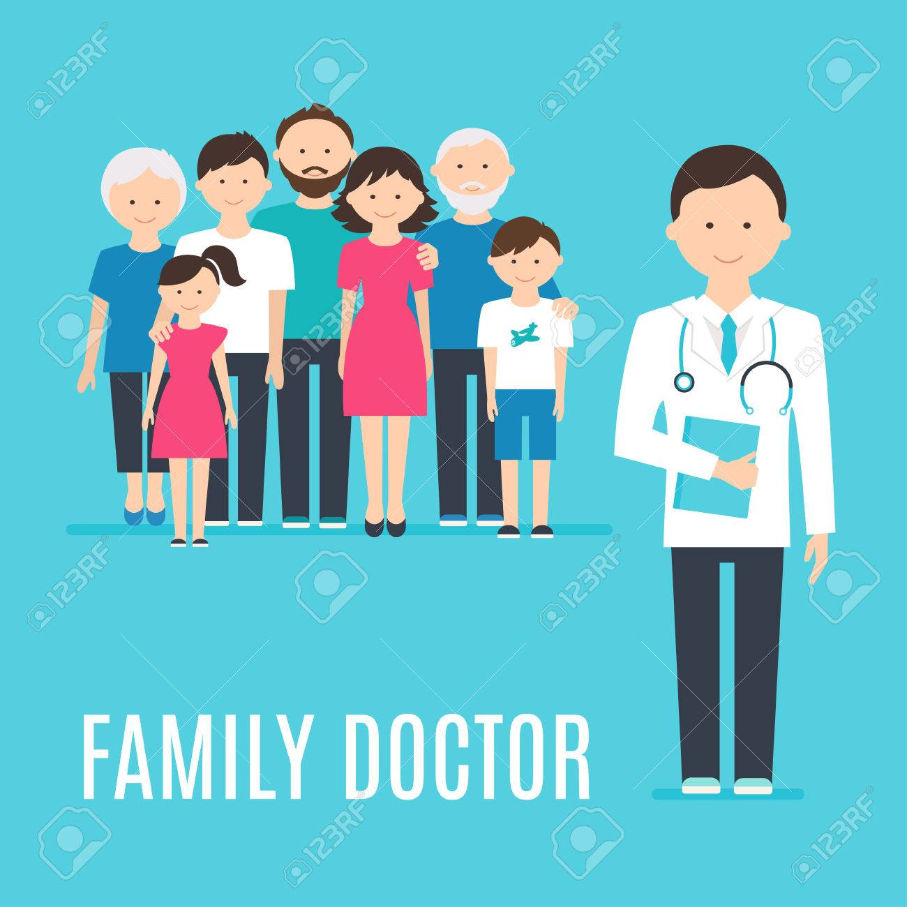 Extended Family and Medical Doctor or Physician. Illustration - 56726695