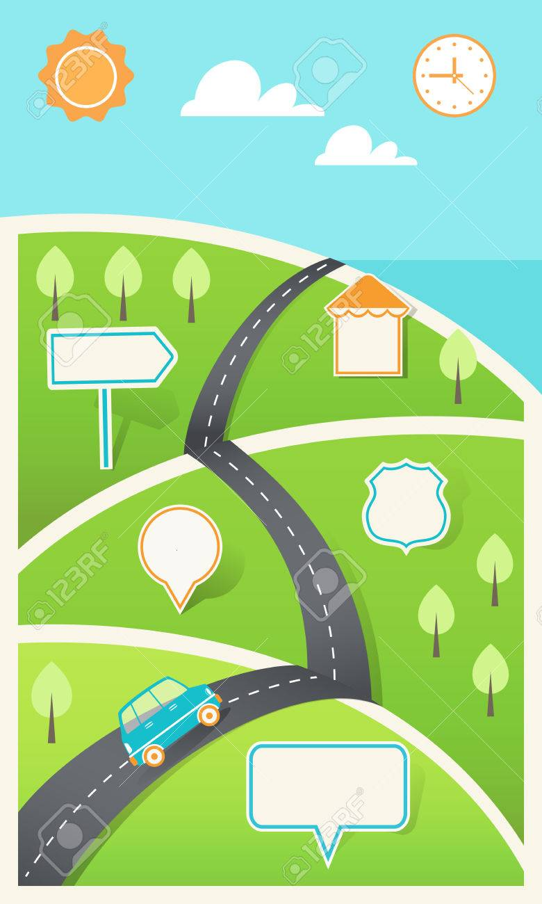 road and hills with signs travel holiday road map infographic template stock vector