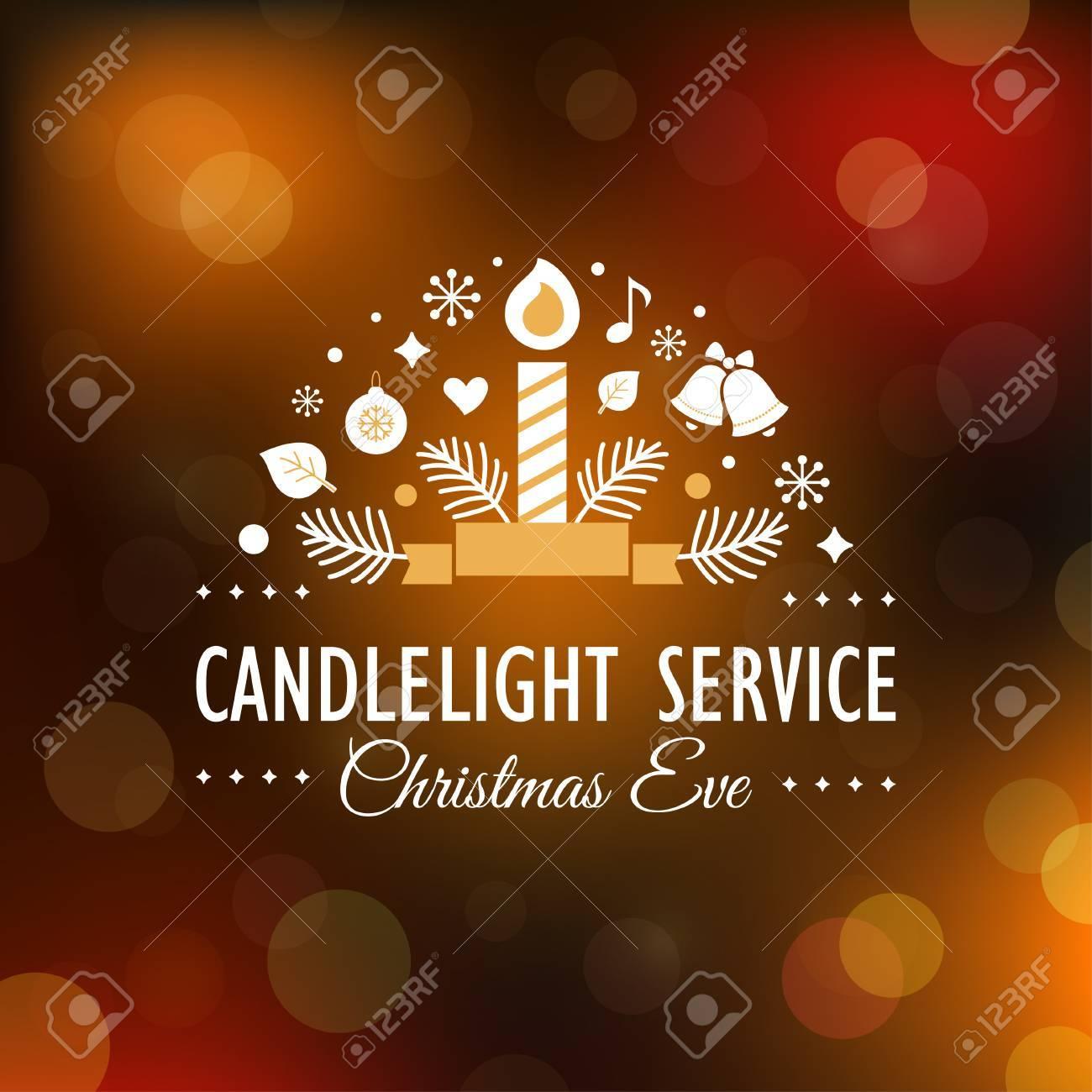 Christmas Eve Candlelight Service Invitation. Blurry Background - 59989143
