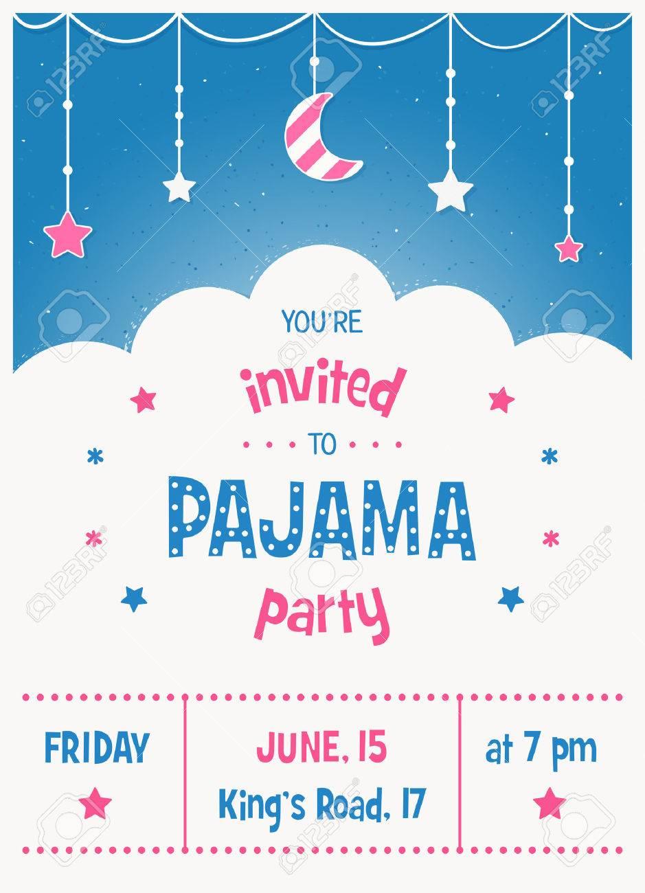 Invitación Del Partido Del Sleepover Niños Pijama O Plantilla Del ...