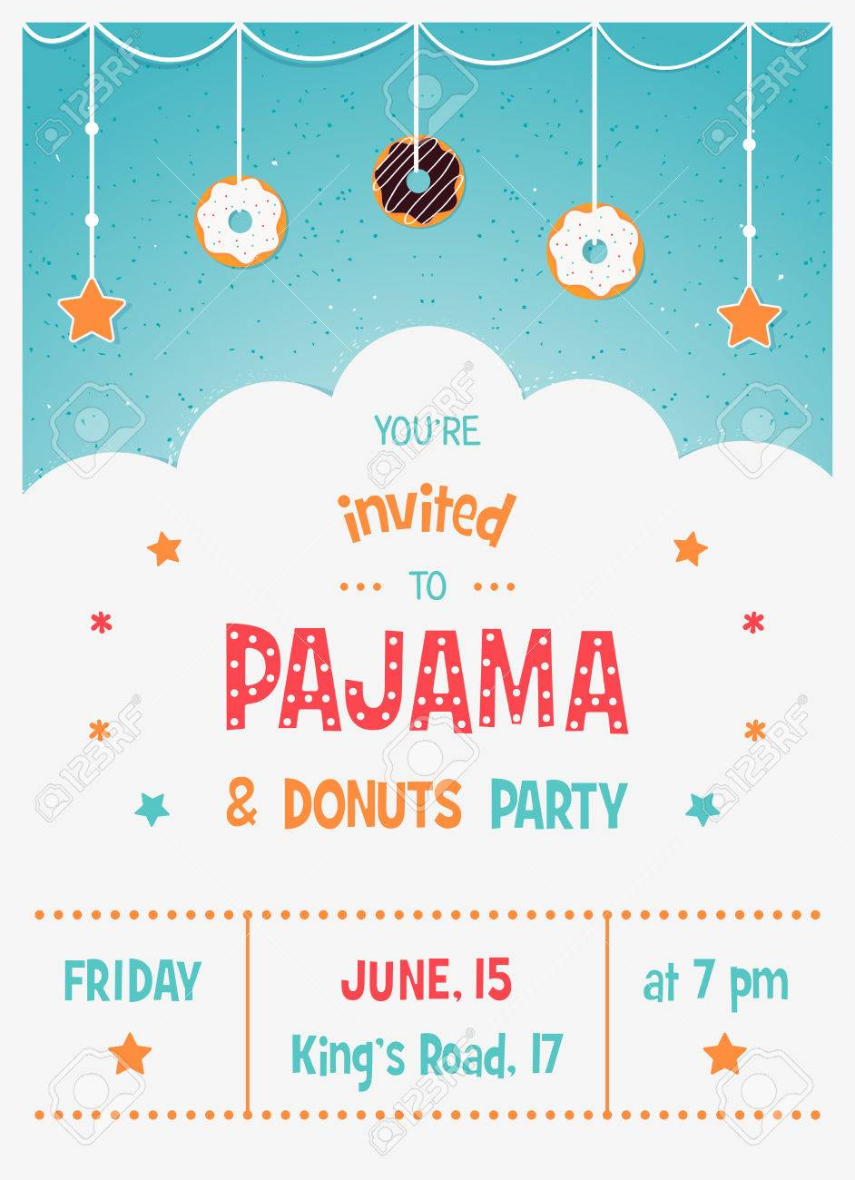 Pajama And Donuts Kids Party Invitation Card Template Royalty Free