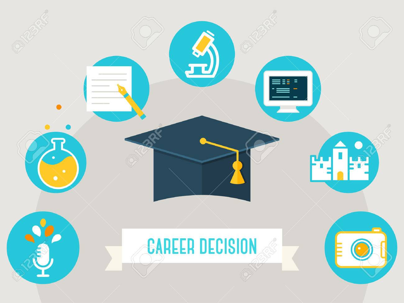 graduation cap surrounded by education icons and career decision graduation cap surrounded by education icons and career decision sign choosing a course occupation