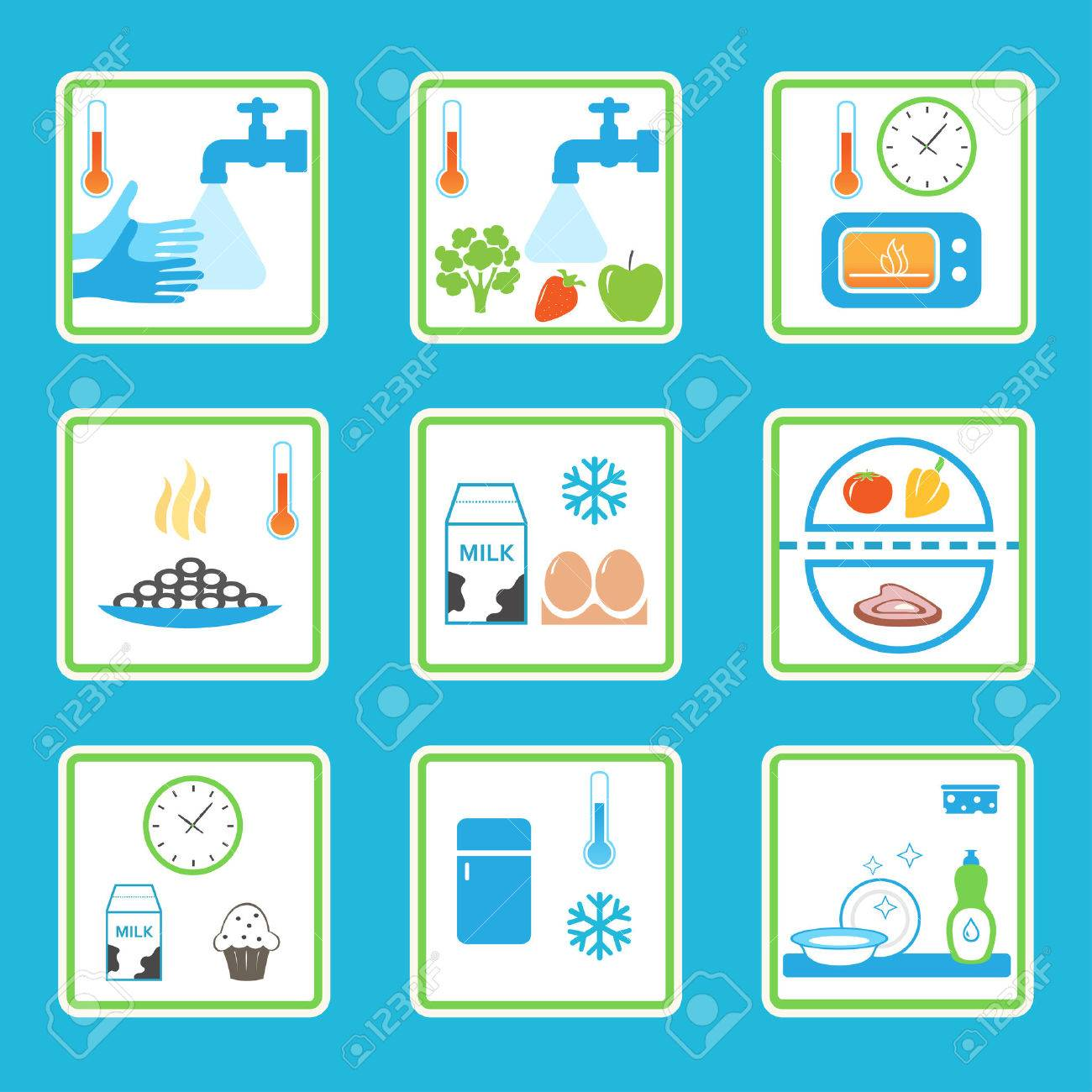 Food Safety Rules Infographics. Healthy Eating Habits Royalty Free ...