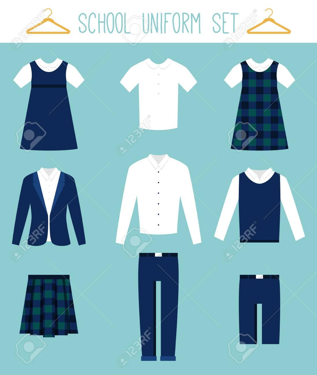 e9278e04d2 Foto de archivo - Los uniformes escolares para los niños. Ropa para niños  plana Conjunto de vectores
