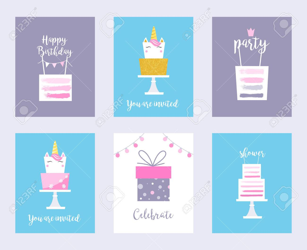 Cakes And Unicorns Birthday Cards Shower Invitations Vector