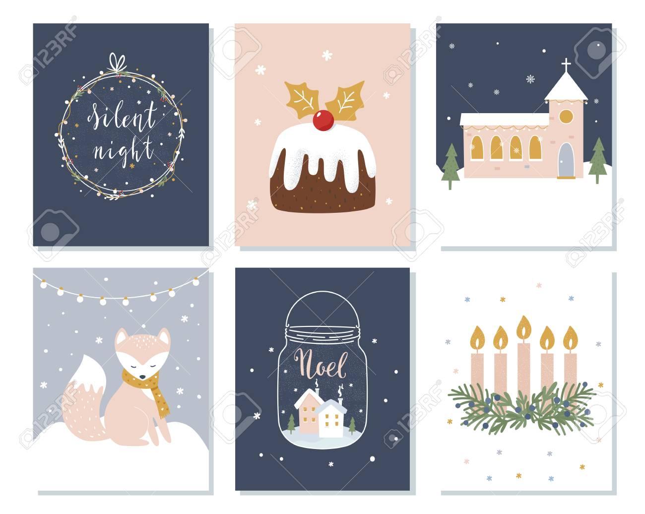 Set of christmas and winter holidays cards advent wreath church set of christmas and winter holidays cards advent wreath church and lettering signs buycottarizona Image collections