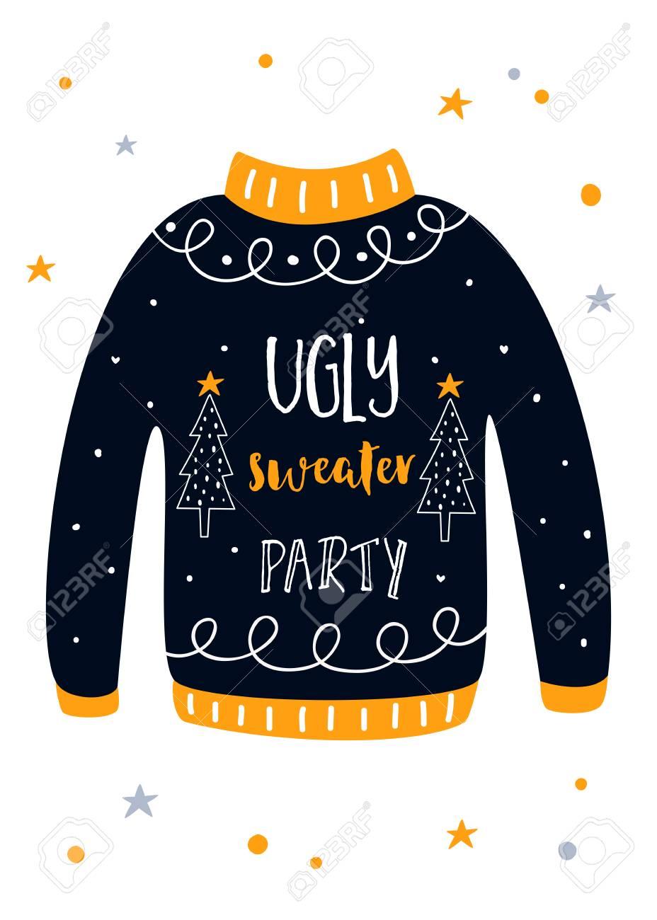 Ugly Sweater Christmas.Ugly Sweater Christmas Party Invitation Card Vector Template