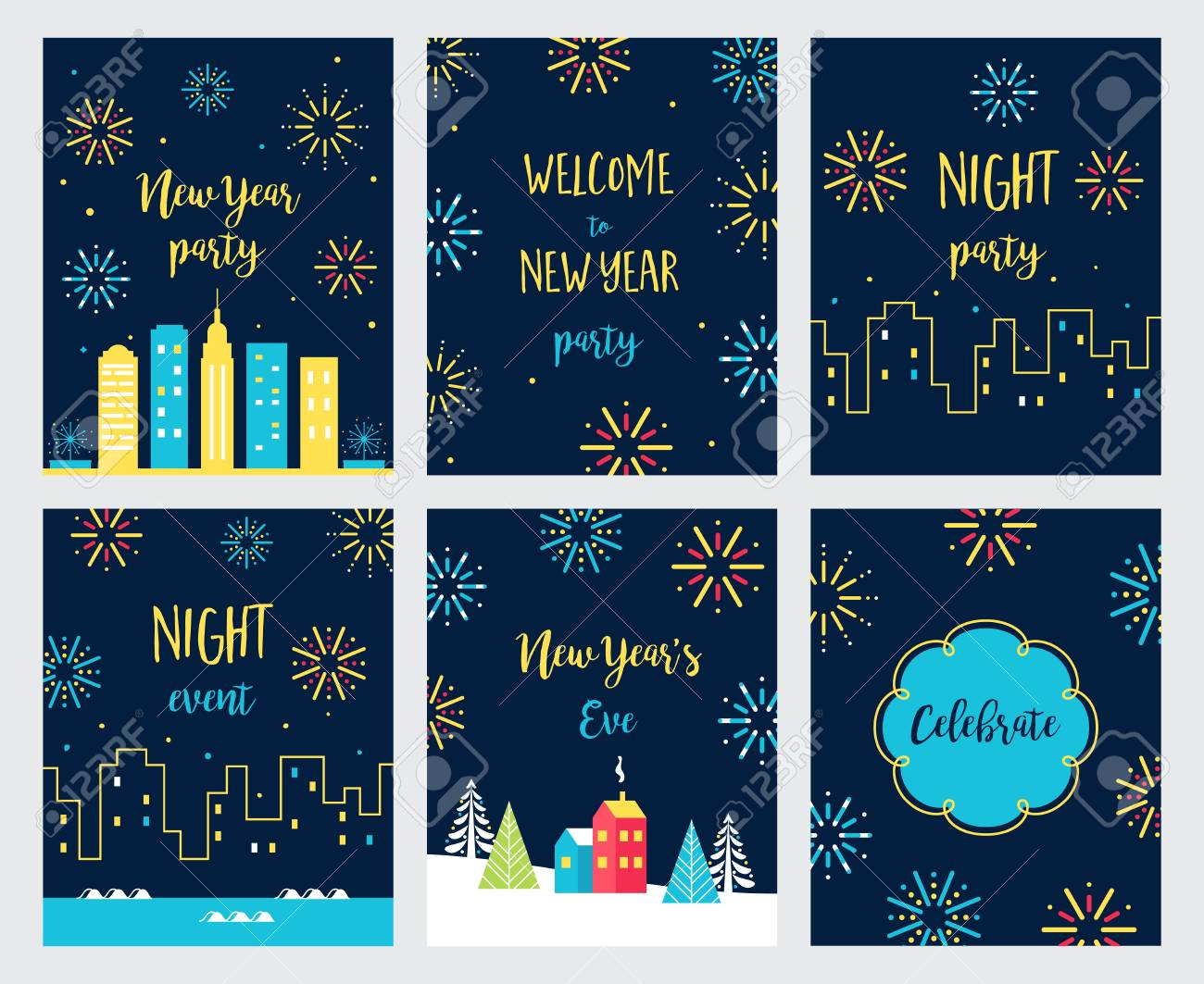 set of new years eve cards and invitations with fireworks designs