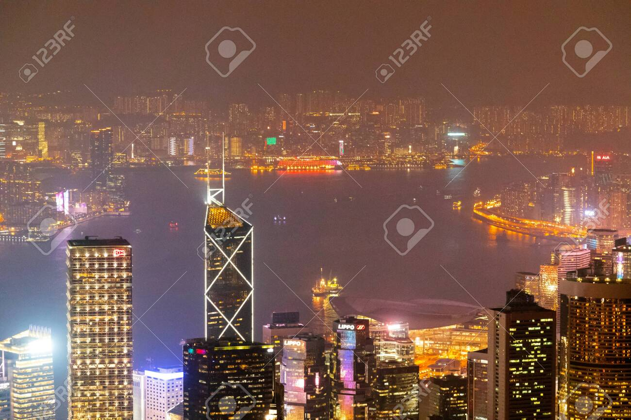 Hong Kong Skyline At Night View From Victoria Peak