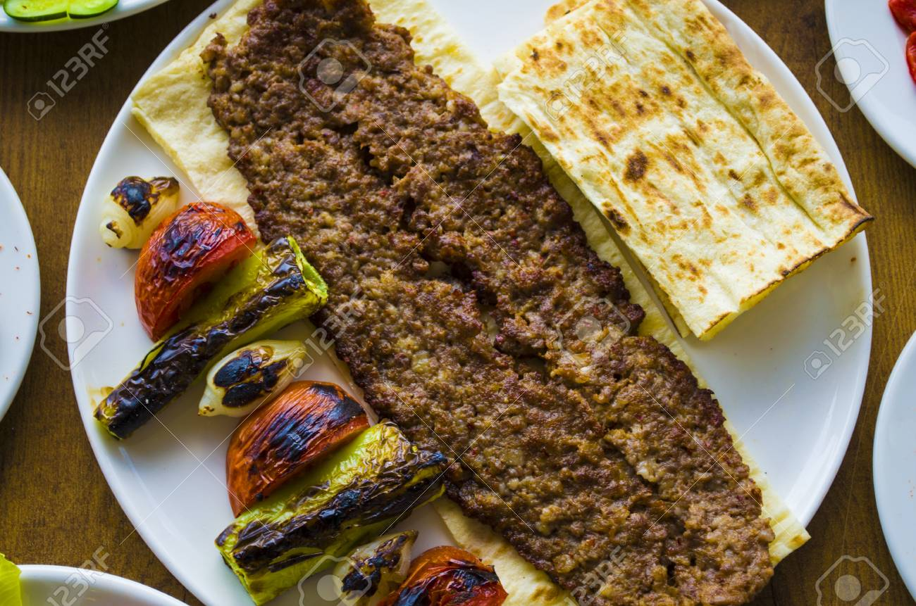 Turkish Adana Kebab Plate On Wooden Table Stock Photo Picture And Royalty Free Image Image 85199734