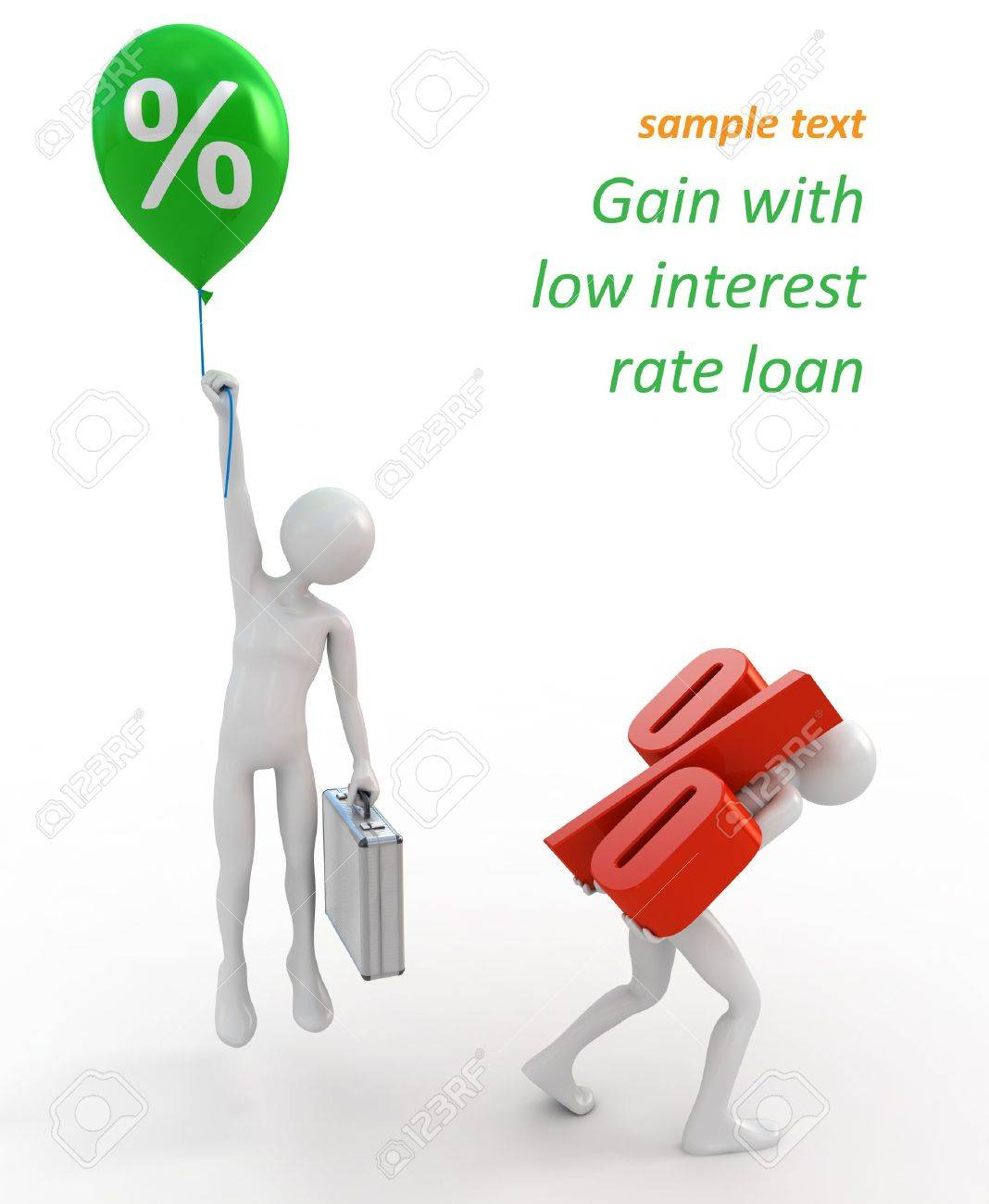 Businessmen with high and low interest rate loans Stock Photo - 10758870