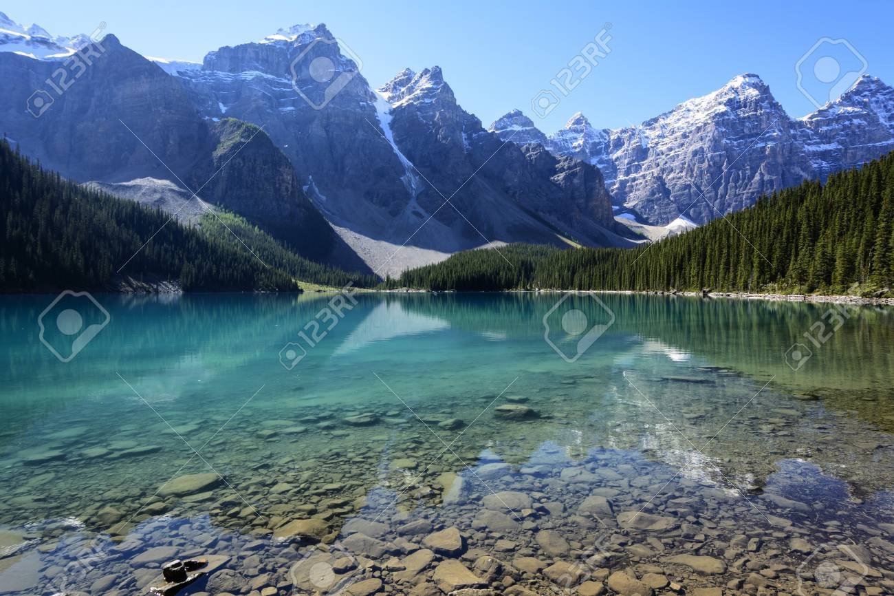The Moraine Lake In Banff National Park Alberta Canada On A