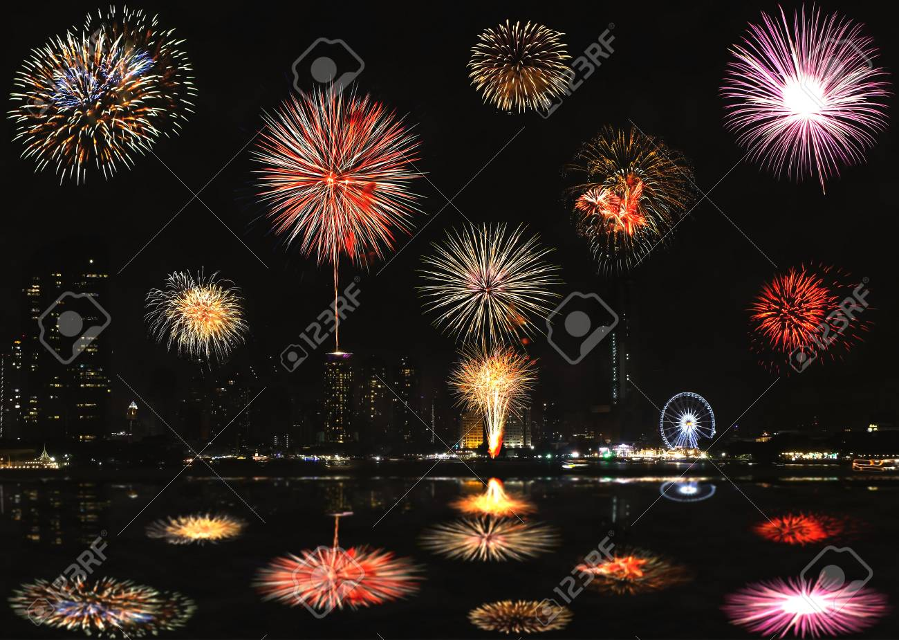firework for happy new year from thailand stock photo 51300952