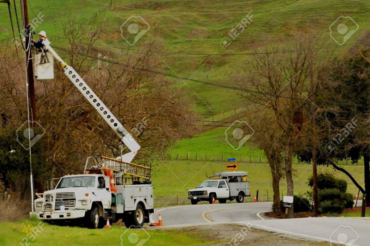 highline boom truck with man Stock Photo - 4315152