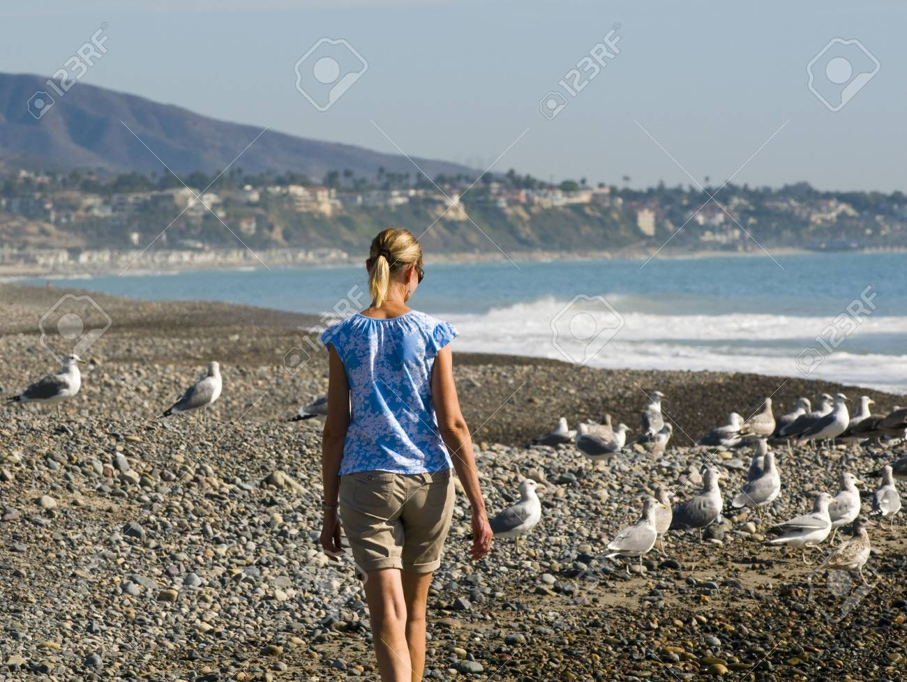 Woman walking on a beach royalty - Woman Walking On Beach With Seagulls Stock Photo 5839239