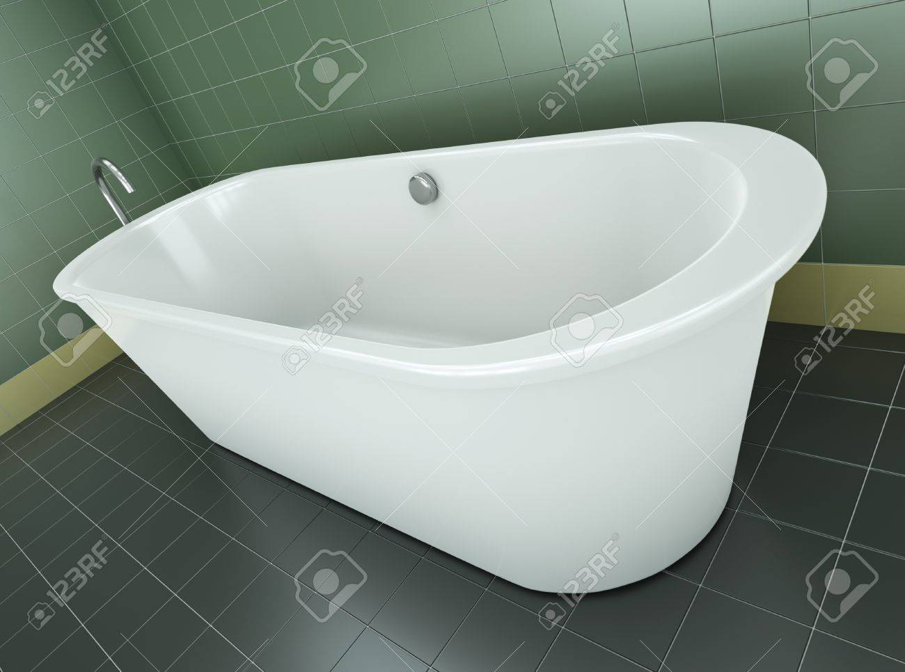 Classic Bathtub In A Green Tile Bathroom. 3D Render. Stock Photo   8980094