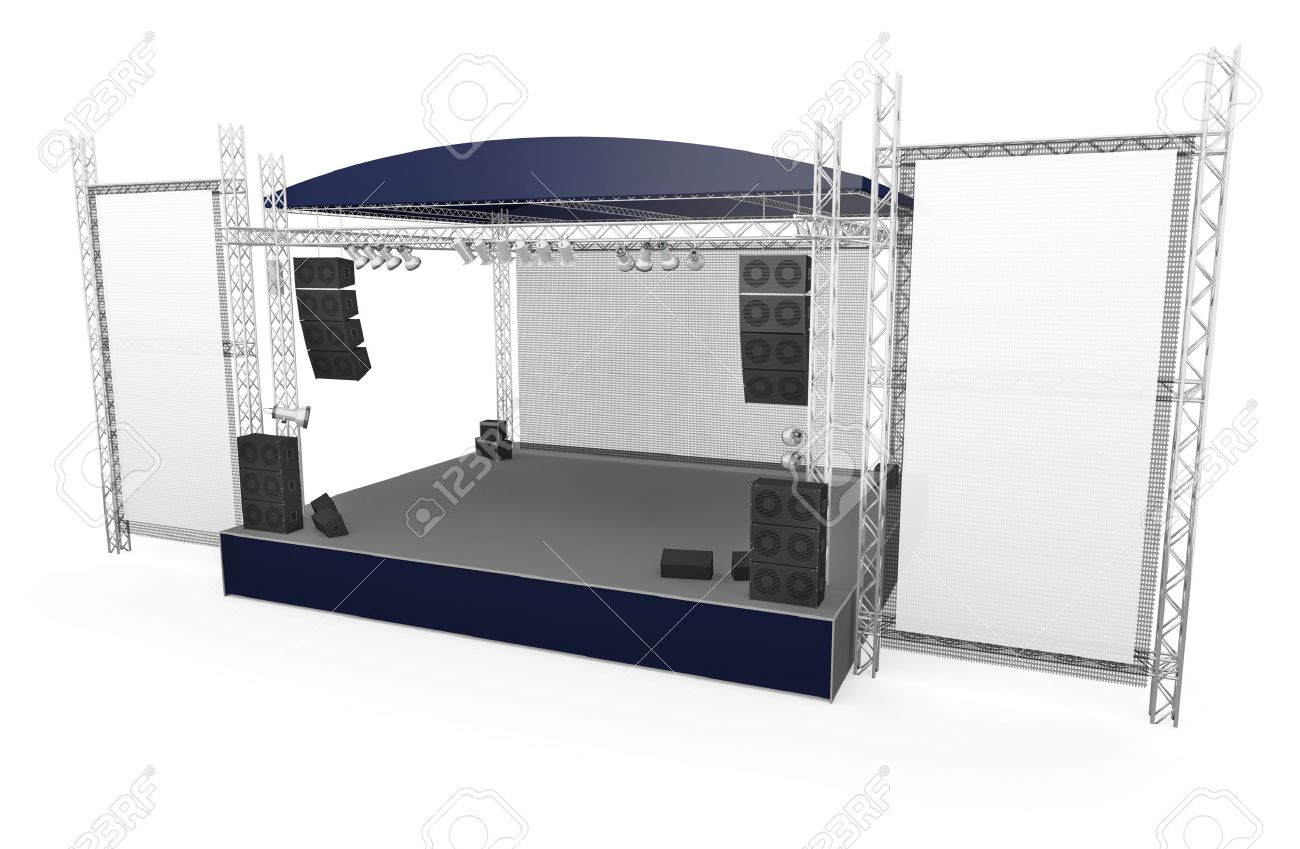 Outdoor stage with large vertical banners Stock Photo - 8980095