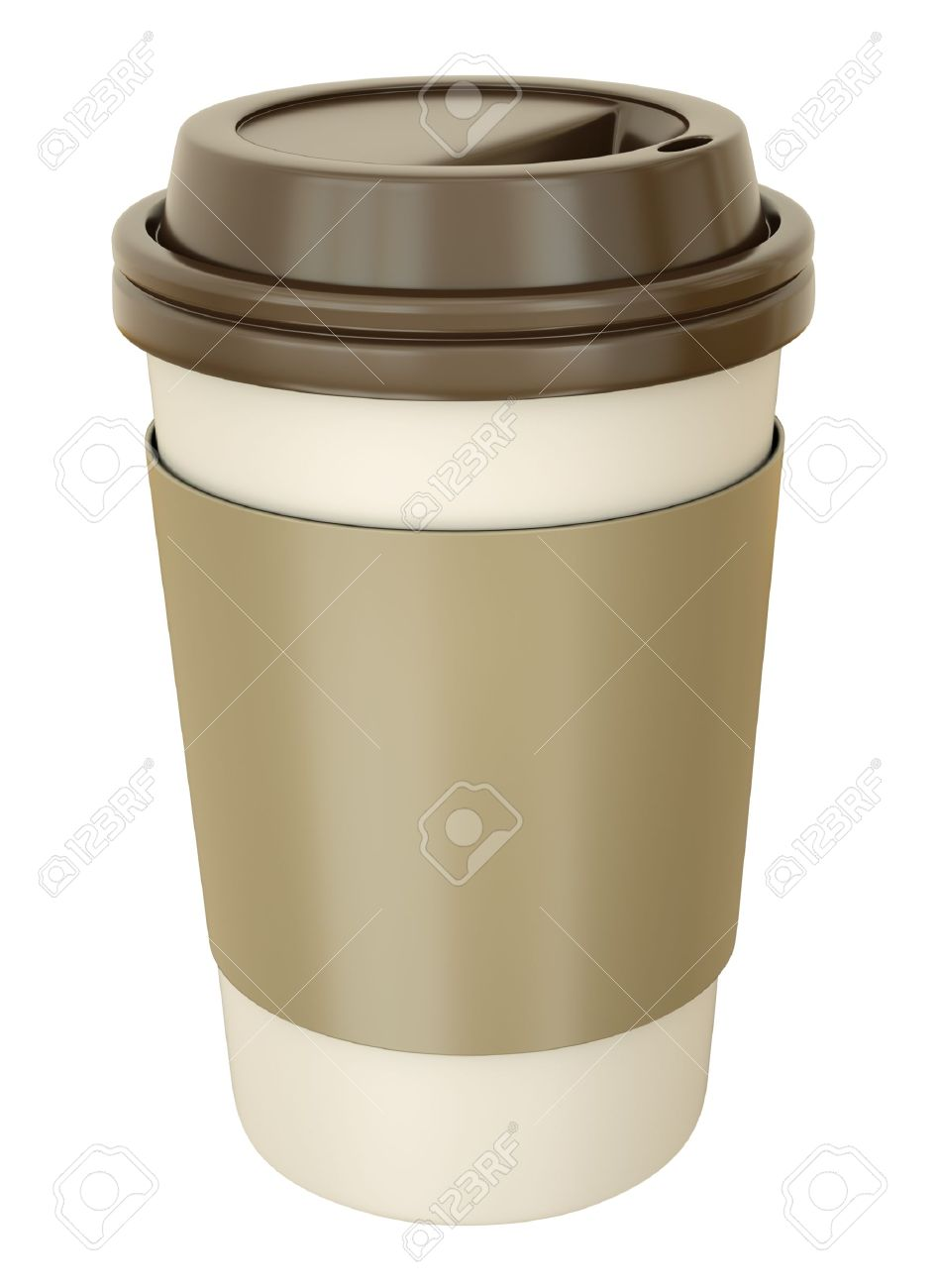 Takeaway coffee cup with lid. 3D render. Stock Photo - 8980097