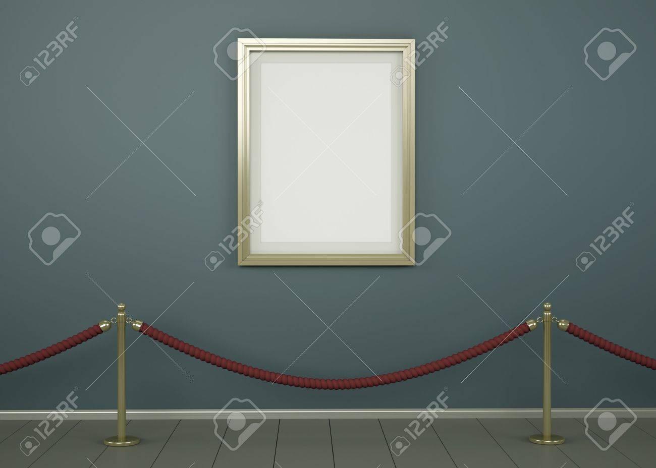Imagen En Blanco Con Marco De Oro En Una Galería. 3D Procesa La ...