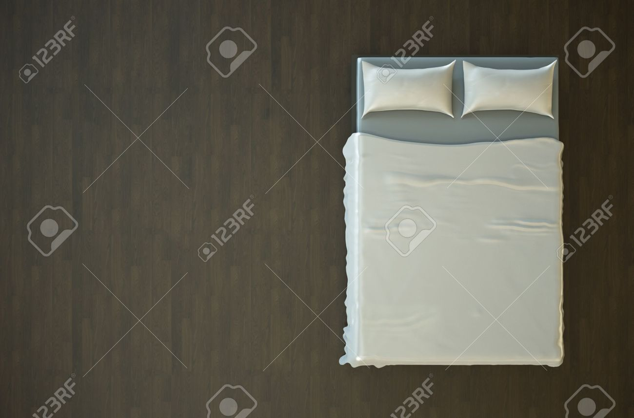 White bed top view - Stock Photo Top View Of An Empty Bed With White Bedding 3d Render
