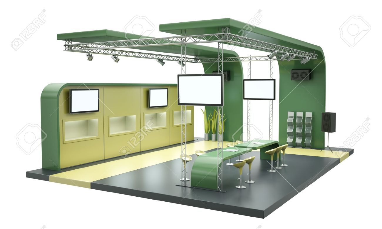 Exhibition Stand 3d Model Free : Trade exhibition stand isolated on white background d render