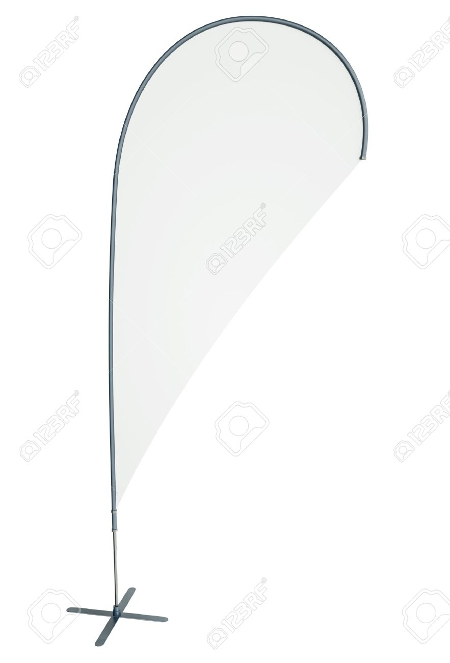 Blank Teardrop/flying Banner Isolated On White Background. 3D ...