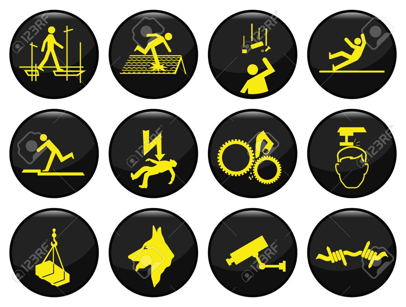 Safety and security black icon set individually layered Stock Vector - 8576383