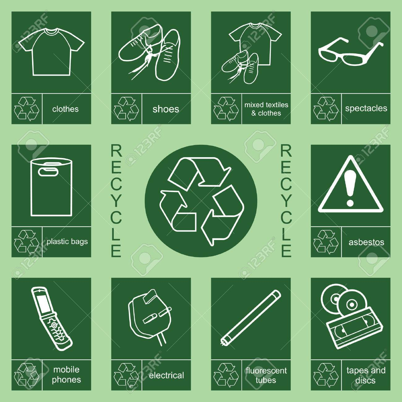 Individually layered recycling sign collection 2 Stock Vector - 8599815